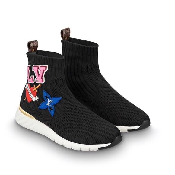 Lv Black Heart Sock Sneaker Boot